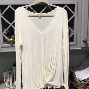 Bordeaux long sleeve v neck cream shirt. Size L